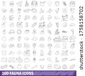 100 fauna icons set in outline... | Shutterstock .eps vector #1758158702