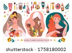 three diverse beautiful girls... | Shutterstock .eps vector #1758180002
