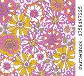 retro 60s floral. vector repeat ... | Shutterstock .eps vector #1758197225