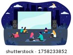 young friends resting at... | Shutterstock .eps vector #1758233852