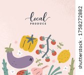vegetable poster  farmers... | Shutterstock .eps vector #1758272882