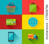 internet shopping icons in flat ...
