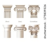 stylized and realistic columns in different styles - ionic, doric, corinthian - for your architectural designs - stock vector