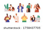 set of diverse people with... | Shutterstock .eps vector #1758437705