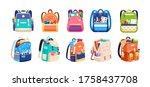 set of childish school... | Shutterstock .eps vector #1758437708
