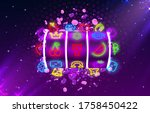 jackpot slots neon icons ... | Shutterstock .eps vector #1758450422