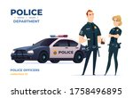 Cartoon Police Officers Man And ...