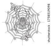 spider and butterfly. zentangle ... | Shutterstock .eps vector #1758519098