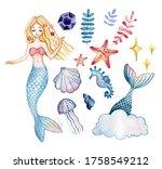 set of cute mermaid and aquatic ...   Shutterstock . vector #1758549212