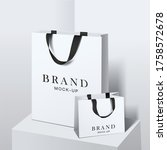shopping bag mockup. white... | Shutterstock .eps vector #1758572678