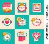 set of nine birthday...   Shutterstock .eps vector #175859558