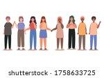 happy women and men cartoons... | Shutterstock .eps vector #1758633725