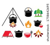 cooking over a fire  campfire... | Shutterstock .eps vector #1758642695
