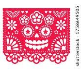 halloween papel picado design... | Shutterstock .eps vector #1758649505