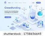 crowdfunding platform isometric ...
