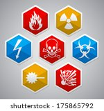 danger sign   various color... | Shutterstock . vector #175865792