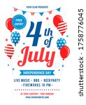 4th of july poster templates... | Shutterstock .eps vector #1758776045