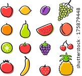 vector fruits set   separate... | Shutterstock .eps vector #175879448