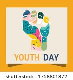 youth day doodle throughout the ... | Shutterstock .eps vector #1758801872