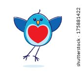Flying Bluebird With Red Heart...