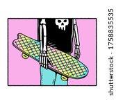 skeleton skateboarder with... | Shutterstock .eps vector #1758835535