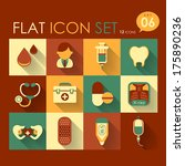 vector medical icon set flat...