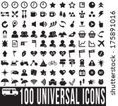 100 universal icons set  vector ... | Shutterstock .eps vector #175891016