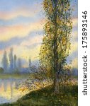 Watercolor Landscape. Poplar I...
