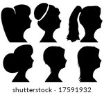 women headsilhouettes with...   Shutterstock . vector #17591932