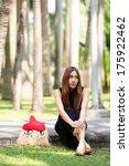 beautiful asian lady in black... | Shutterstock . vector #175922462