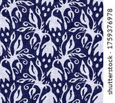 Indigo Blue Flower Block Print...