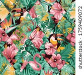 tropical leaves hibiscus and... | Shutterstock .eps vector #1759409072