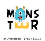 monster print design with... | Shutterstock .eps vector #1759451138