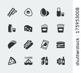 vector food mini icons set  2 | Shutterstock .eps vector #175953008
