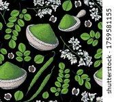 moringa seamless pattern. hand... | Shutterstock .eps vector #1759581155