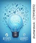 light bulb and drawing business ... | Shutterstock .eps vector #175958552