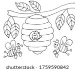 Hand Drawn Cartoon Bees With...