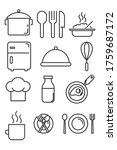 cooking line icons. kitchen.... | Shutterstock .eps vector #1759687172