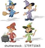 Cartoon wizard boys and witch girls. Halloween costume.