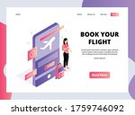 isometric landing page of book...   Shutterstock .eps vector #1759746092