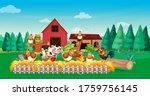 Farm Scene With Animal Farm...