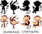 Set Of Monkey Cartoon Characte...