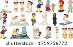 set of different muslim people... | Shutterstock .eps vector #1759756772