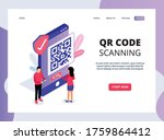 isometric landing page of qr...