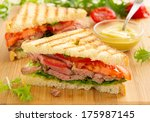 panini closeup with roast beef...   Shutterstock . vector #175987145