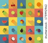 25 Fruit Icons In Colorful Fla...