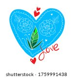 heart with rose icon or card ... | Shutterstock .eps vector #1759991438