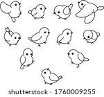 Set Of 11 Linear Birds In...