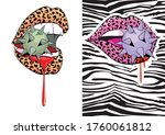 set of two vector illustrations ... | Shutterstock .eps vector #1760061812