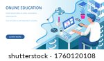 learning online at home....   Shutterstock .eps vector #1760120108